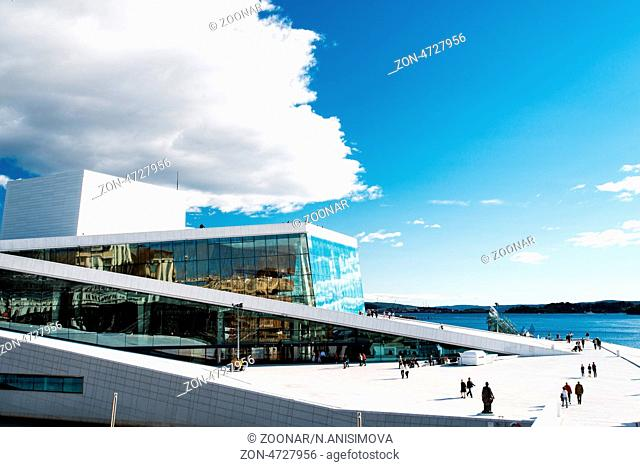 OSLO, NORWAY - SEPTEMBER 5: View on a side of the National Oslo Opera House on September 5, 2012 in Oslo, Norway, which was opened on April 12, 2008