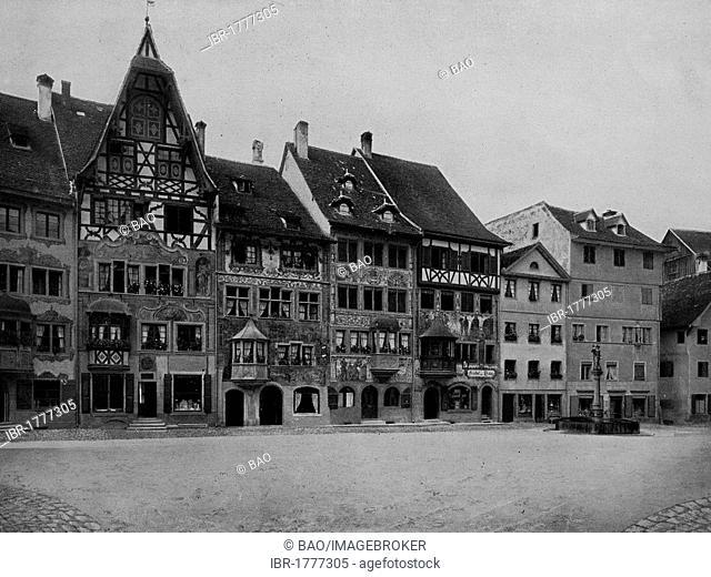Market place of Stein am Rhein, Schaffhausen, Switzerland, Europe, historical photograph from around 1900