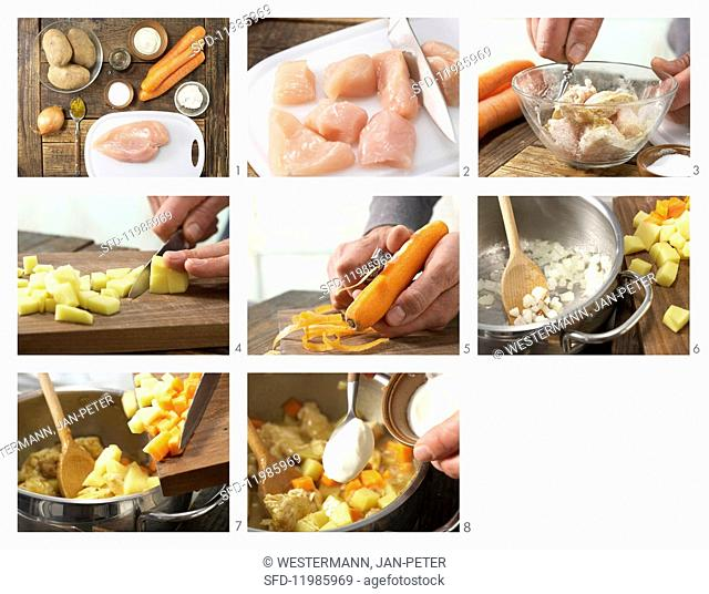 How to prepare chicken curry with carrots and potatoes