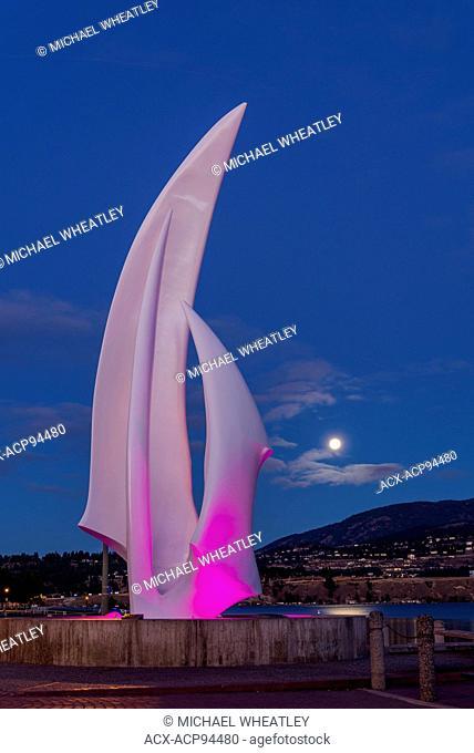 Sculpture called 'Spirit of Sail' by artist Robert Dow Reid, Kelowna, Okanagan Valley, British Columbia, Canada