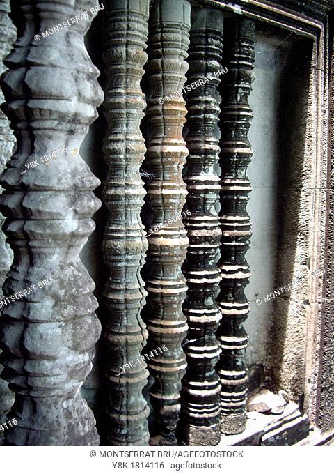 Balustered windows at Angkor Wat temple, Cambodia