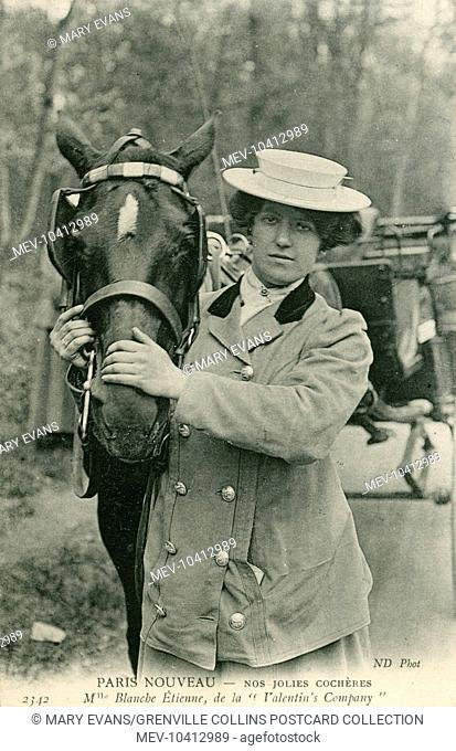 Female cab driver in Paris - Mademoiselle Blance Etinenne - holding her horse's head. Lady cab drivers were seen by paying customers as a far safer bet than...
