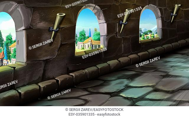 Digital painting of gallery in the. Summer day view with a stone floor and torches