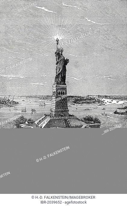 Statue of Liberty in New York, historical engraving, 19th Century, from the book by I Solskin Hjemmet, Ung og Gammel, Battle Creek, Michigan, 1893