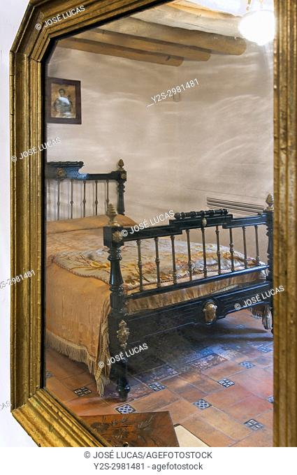 Birthplace - museum of the poet Federico Garcia Lorca, Room where the poet was born - reflection in a mirror, Fuente Vaqueros, Granada province