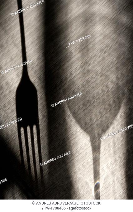 Shadows: fork, glass, tablecloth