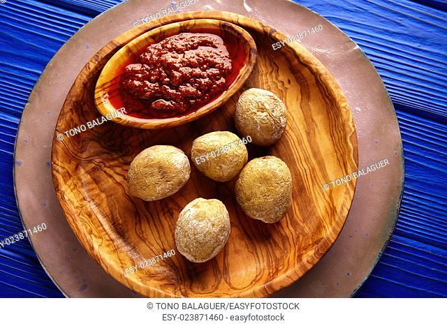 Papas arrugas al mojo wrinkled potatoes Canary islands recipe red spicy sauce