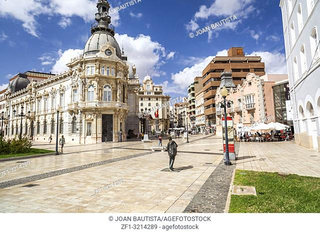 Street view, square, Plaza Heroes de Cavite, historic center and touristic point city, Cartagena, Spain