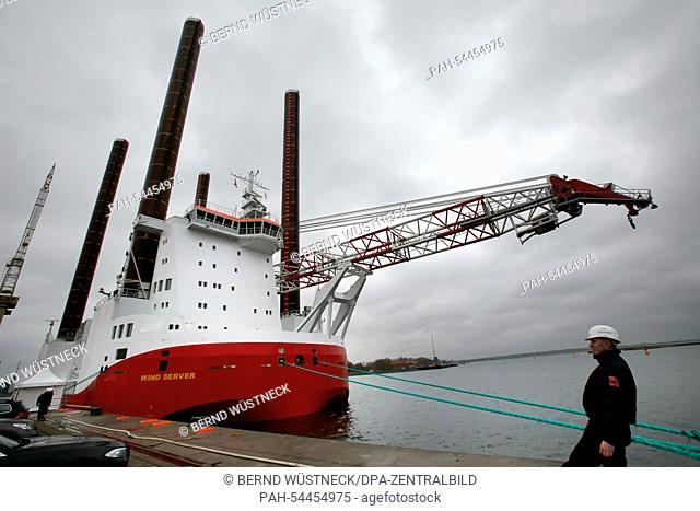 The offshore service ship 'Wind Server' lies at the Nordic shipyard in Rostock-Warnemuende, Germany, 18December 2014. The installation vessel was handed over...