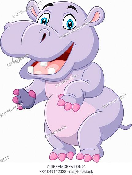 Vector illustration of Cartoon funny hippo