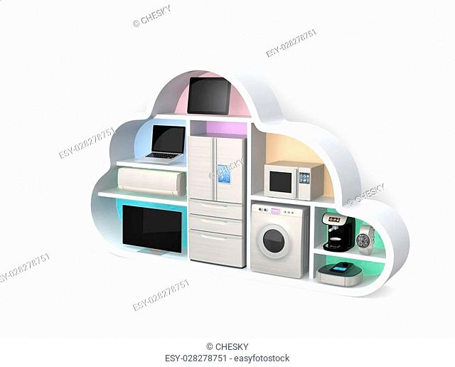 Home appliances in cloud shape for IoT concept. Clipping path available