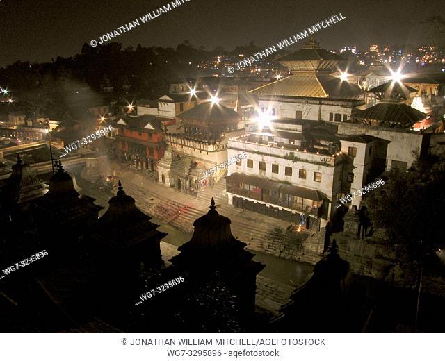 NEPAL Kathmandu -- Nov 2005 -- The celebrated Pashputinath temple in the Kathmandu valley during the festival of light, Tihar - when like Deepawali - people...