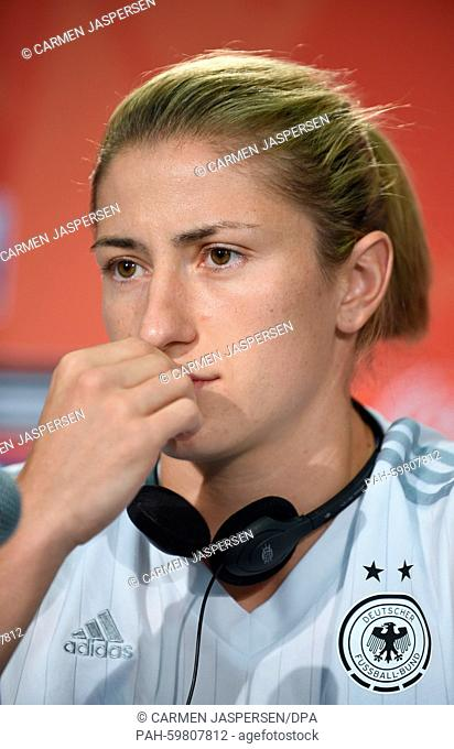 Germany-s Bianca Schmidt during a press conference at the Commonwealth Stadium in Edmonton during the FIFA Women-s World Cup in Edmonton, Canada, 03 July 2015