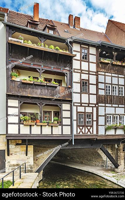 View from the south to the half-timbered houses of the Kraemerbruecke (Merchants bridge). The Kraemerbruecke is located in the old town of Erfurt