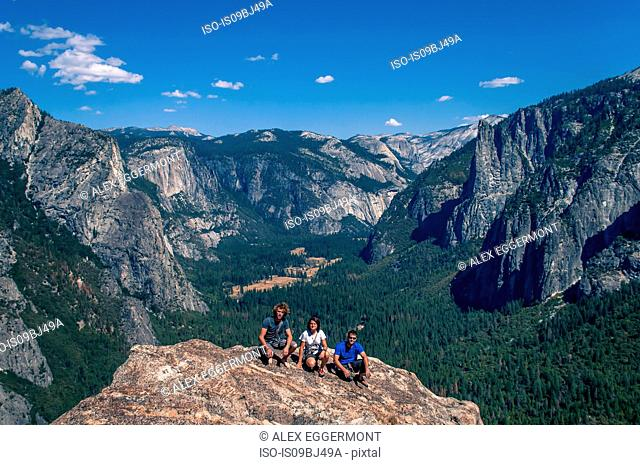 Friends on top of Higher Cathedral Spire, Yosemite Valley, California, United States