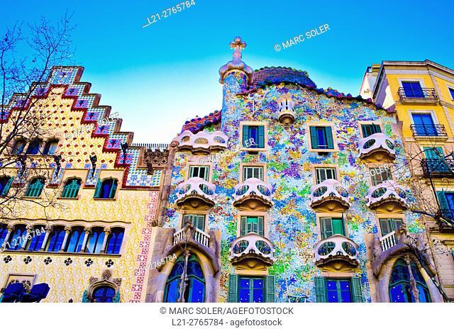 Amatller House by Puig i Cadafalch. Batllo House by Antoni Gaudi. Passeig de Gracia, Barcelona, Catalonia, Spain