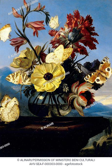 Vase of flowers with a butterfly; work of Otto Marseus Van Schrieck, formerly kept in the Palatine Gallery in Florence. Now in the Museum of Still Life (Natura...