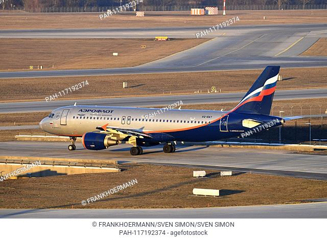 VQ-BAY Aeroflot - Russian Airlines Airbus Airbus A320-214 on the runway, takeoff, launches. Airline, airline, flyer, air traffic, fly. Aviation