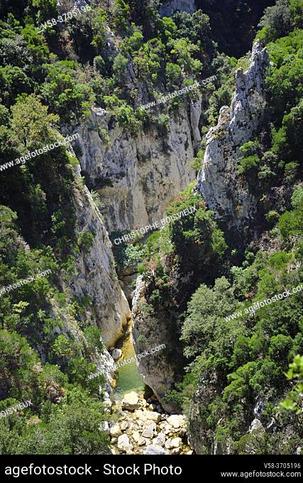 France, Pyrenees-Orientales, Galamus gorges, Agly river