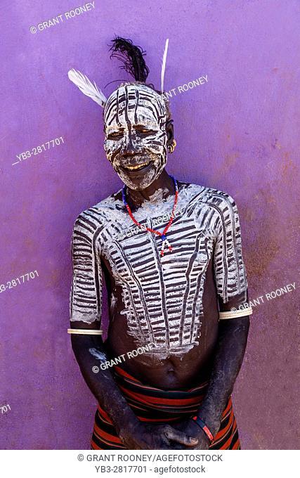 Portrait Of A Karo Tribesman At The Turmi Monday Market, Turmi, Omo Valley, Ethiopia