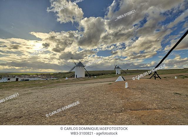Windmills and clouds, Campo de Criptana, Castile-La Mancha, Spain