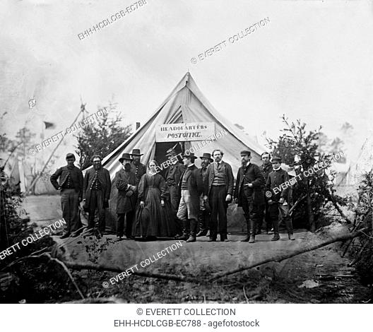 The Civil War, group in front of post office tent at Army of the Potomac headquarters, Falmouth, Virginia, photograph by Timothy H