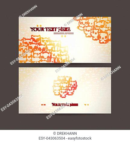 Set of card templates with cute cartoon cats and dogs with different emotions. Stickers and designs vector collection