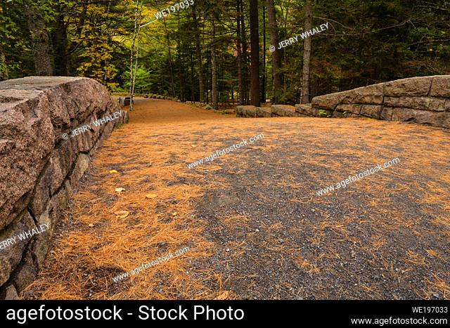 Bridge at Bubble Pond in Acadia National Park on Mount Desert Island in Maine, USA