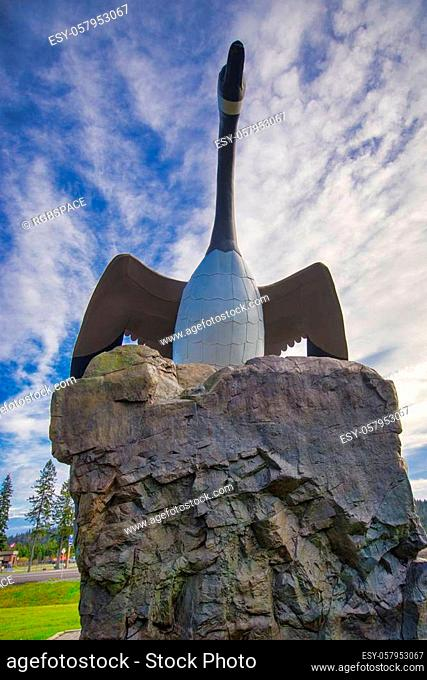 View of the famous Wawa giant goose statue built in the 1960s overlooking Transcanada Highway in Ontario, Canada