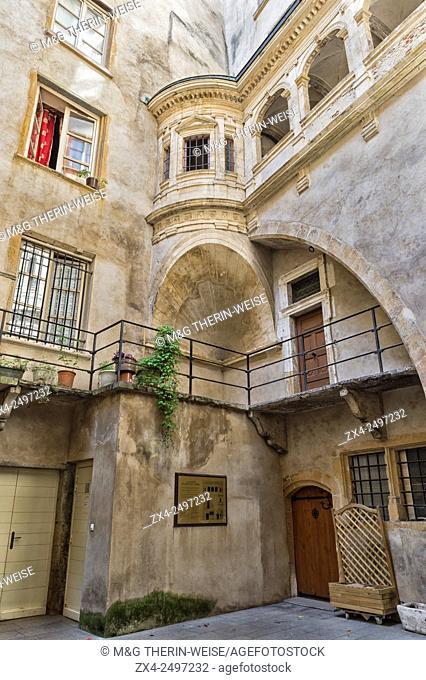 Traboule Gallery Philibert de l'Orme, Saint Jean district, Old Lyon, Lyon, Rhone, France, Unesco World Heritage Site