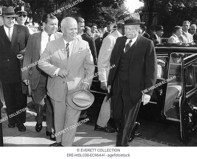 Premier Khrushchev and President Eisenhower on the last day of his American visit. At far left is Andrei Gromyko, Foreign Minister of USSR. Sept