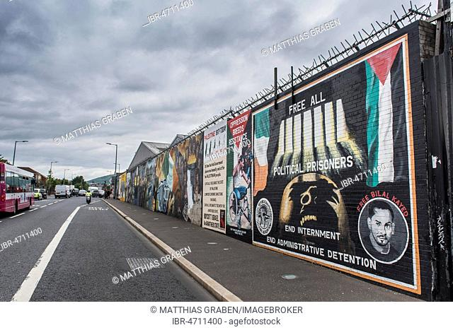 Political graffiti on wall in West Belfast reminiscent of the civil war between Protestants and Catholics, Belfast, County Antrim, Northern Ireland