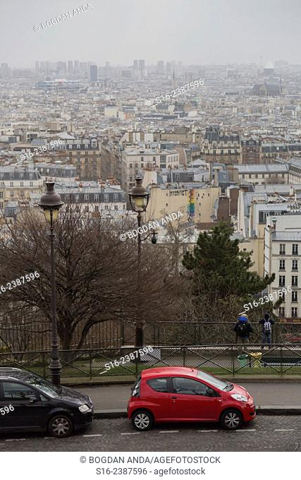 Paris, France - city's rooftops seen from Sacre-Coeur Basilica Hill in Montmartre
