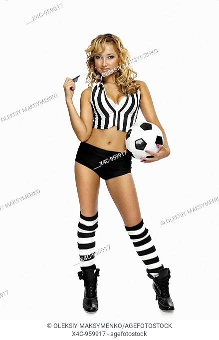 Young attractive woman in a referee outfit with a soccer ball  Isolated on white background