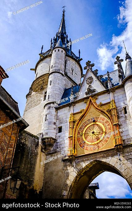 Street scene in Auxerre, France showing their famous clock tower