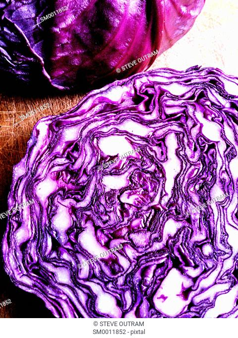 Healthy Food. Sliced Red Cabbage on Chopping Board
