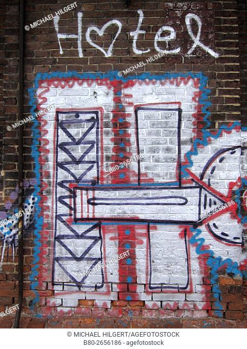 Hotel, graffiti, Hamburg, Germany, Europe