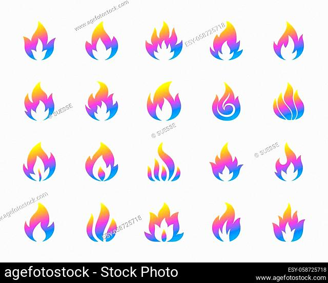 Fire silhouette icons set. Isolated on white web sign kit of bonfire. Flame pictogram collection includes fiery hell, combustion fuel