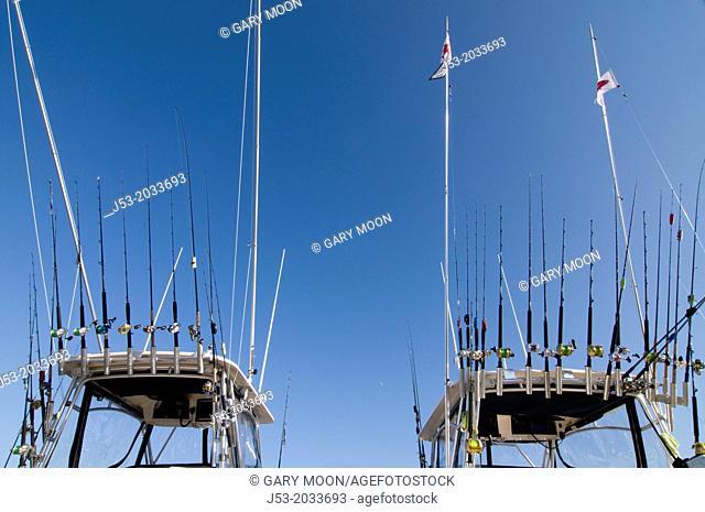 Fishing poles on sportfishing charter boats, Ilwaco, Washington USA