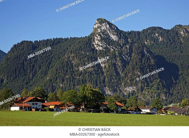 Oberammergau at the foot of the Kofel, Ammergauer alps, Upper Bavaria, Bavaria, Germany