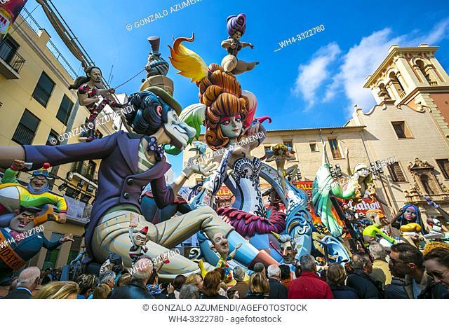 Fallas festival. Falla. Ninots, figures to be burnt during fallas festival. Valencia. Valencian Community. Spain