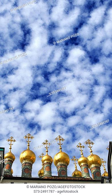 Golden domes of Terem Churches Kremlin, Moscow, Russia