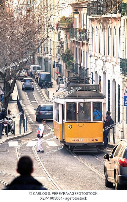 Tram in Bairro Alto district, Lisbon, Portugal, Europe