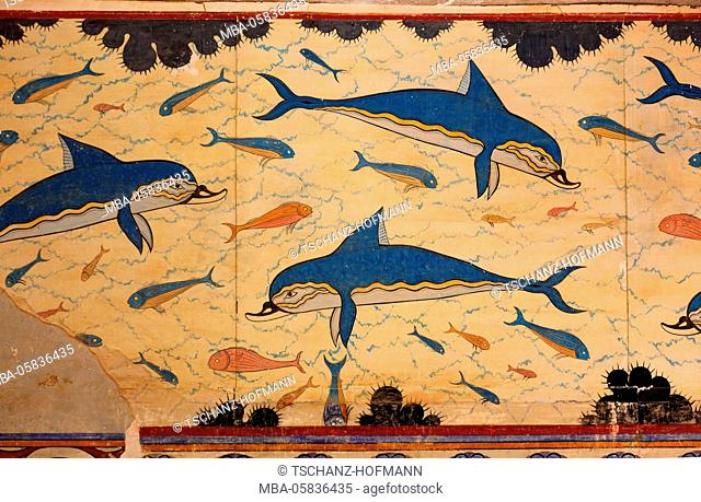 Crete, Knossos, palace complex of the Minoer, dolphins, mural paintings in the Megaron of the queen