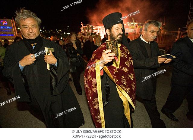 europe, greece, dodecanese, patmos island, skala, easter week, holy friday, epitaph procession