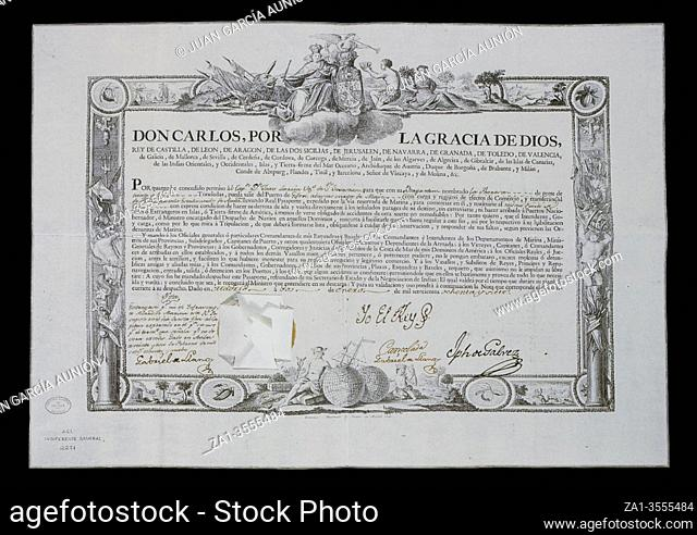 Navigation patent, 1787. Autographed by Jose de Galvez, Secretary of State and of the Universal Office of the Indies. General Archive of indies, Seville