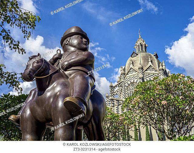 Hombre a caballo Sculpture by Fernando Botero and Rafael Uribe Uribe Palace of Culture, Plaza Botero, Medellin, Antioquia Department, Colombia