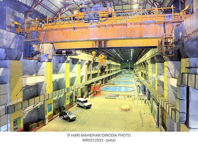 Interior of underground hydro power house in kevadia colony , Gujarat , India