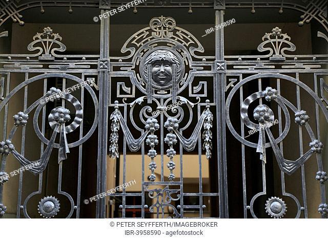Art Nouveau wrought iron gate, Aldaru iela, Riga, Latvia