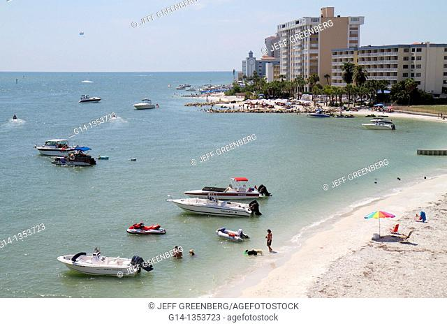 Florida, Clearwater Beach, Gulf of Mexico, Clearwater Harbor, public beach, boats, sunbathers